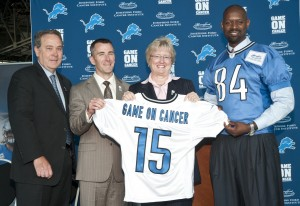 "Launching ""Game on Cancer"" with Detroit Lions President Tom Lewand, HFHS CEO Nancy Schlichting and former Detroit Lions wide receiver Herman Moore."
