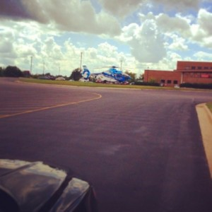 Coincidence or karma? Our air ambulance was making a run just as we arrived in Alpena.