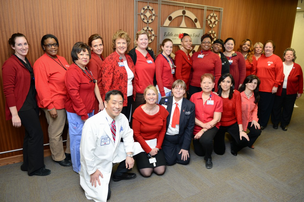 "The Heart & Vascular team ""Go Red"" in support of women's heart health last Friday."