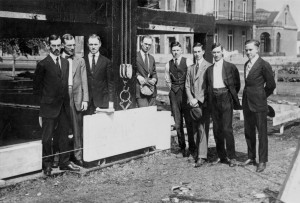 The architect Albert Wood (far left) with other dignitaries at the cornerstone laying for Henry Ford Hospital in 1917. (From the Conrad R. Lam Collection, Henry Ford Health System. ID=01-015)