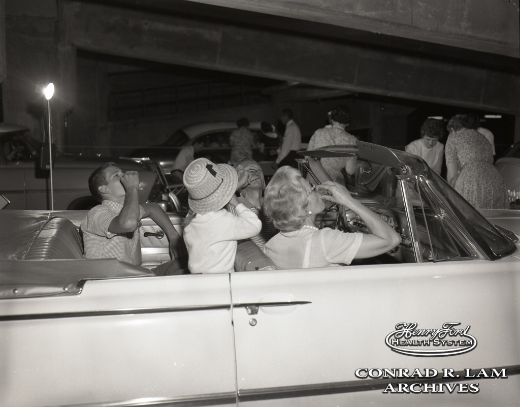 June 24, 1962: Henry Ford Hospital's drive-thru Oral Polio Vaccine Program in the hospital parking garage. From the Conrad R. Lam Collection, Henry Ford Health System.