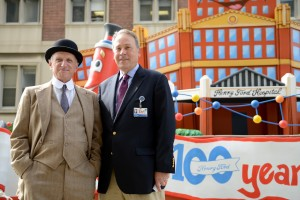 Meeting with hospital founder Henry Ford at the unveiling of our first-ever parade float. He looks amazingly great for being nearly 152 years old!