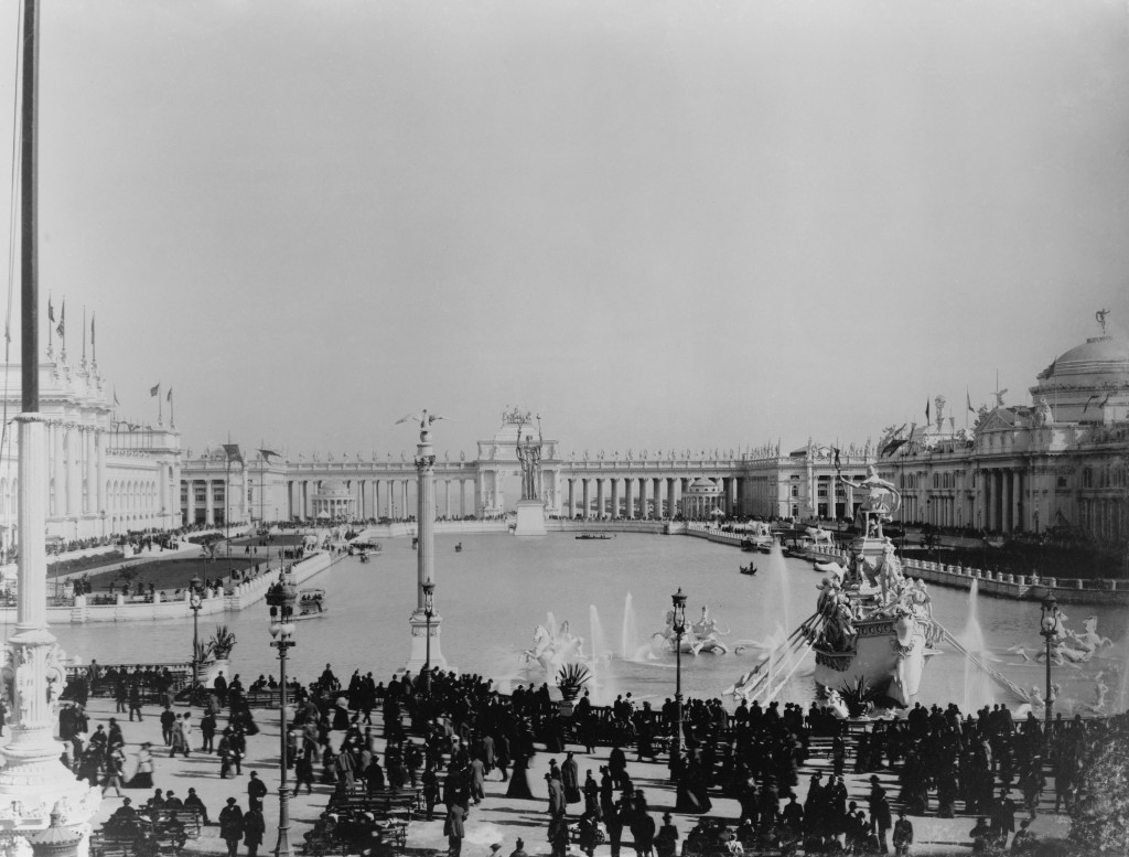 WORLD'S COLUMBIAN EXPOSITION, Chicago 1893. Architects by Daniel Burnham and Frederick Law Olmsted. Photo shows the Lagoon with statues and Agricultural Building on right.