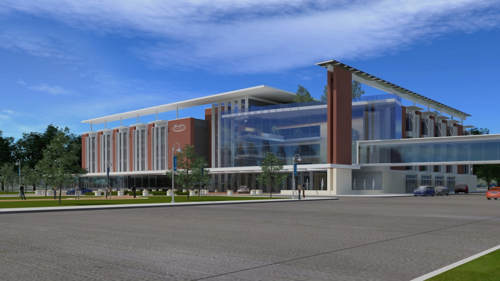 Conceptual drawing of the planned cancer center.