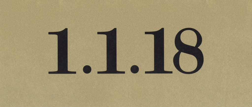 "Cover of the card reads ""1.1.18"""